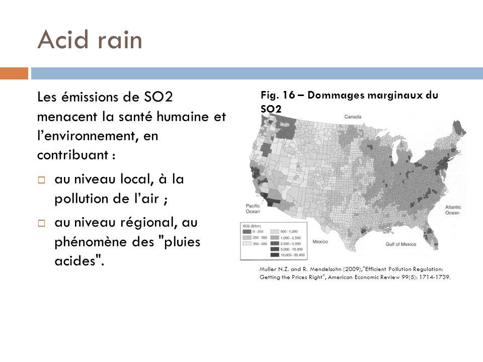 Acid rain Les émissions de SO2 menacent la santé humaine et lenvironnement, en contribuant : au niveau local, à la pollution de lair ; au niveau régional, au phénomène des pluies acides .