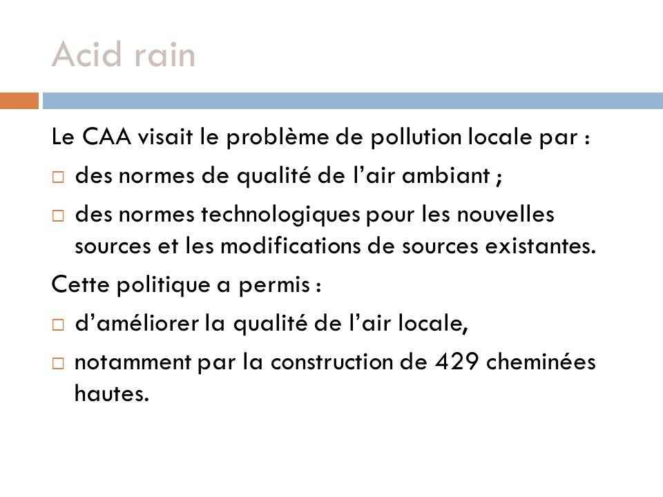 Acid rain Le CAA visait le problème de pollution locale par : des normes de qualité de lair ambiant ; des normes technologiques pour les nouvelles sources et les modifications de sources existantes.