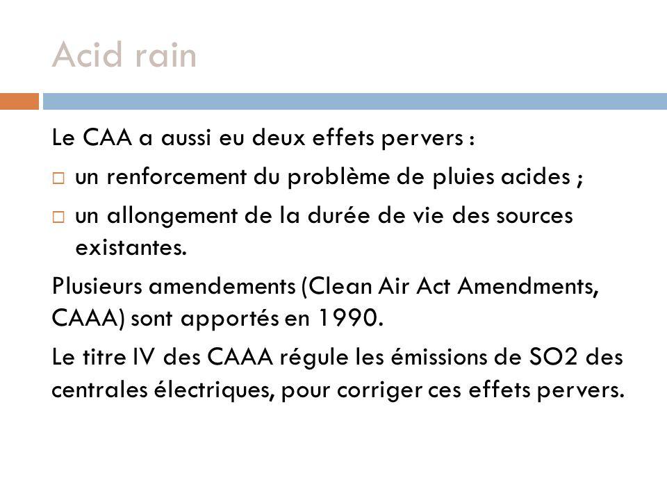 Acid rain Le CAA a aussi eu deux effets pervers : un renforcement du problème de pluies acides ; un allongement de la durée de vie des sources existantes.