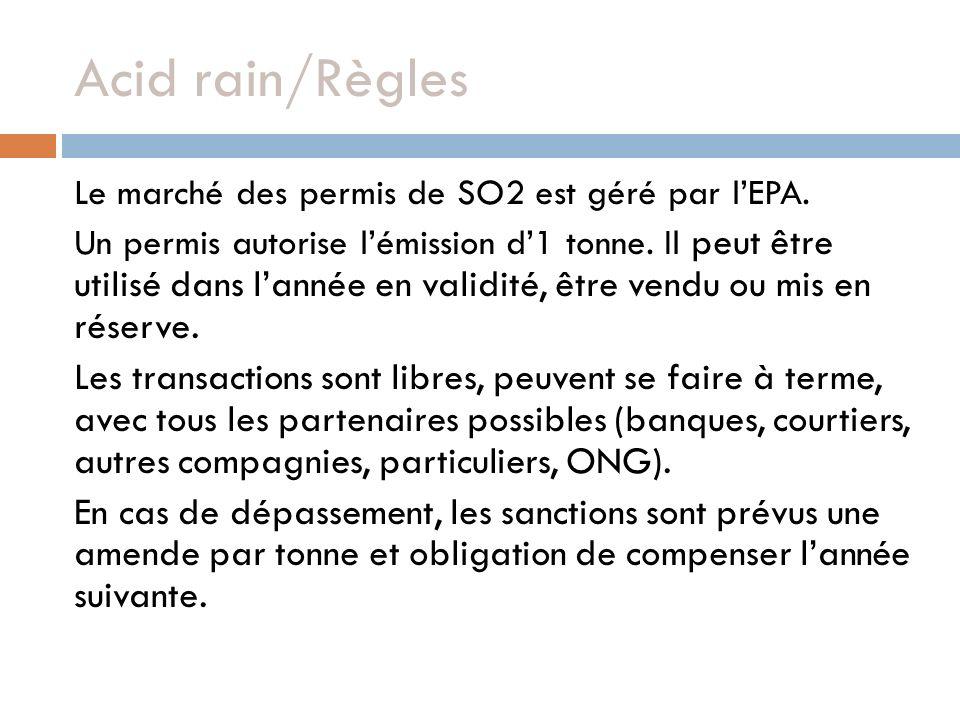 Acid rain/Règles Le marché des permis de SO2 est géré par lEPA. Un permis autorise lémission d1 tonne. Il peut être utilisé dans lannée en validité, ê