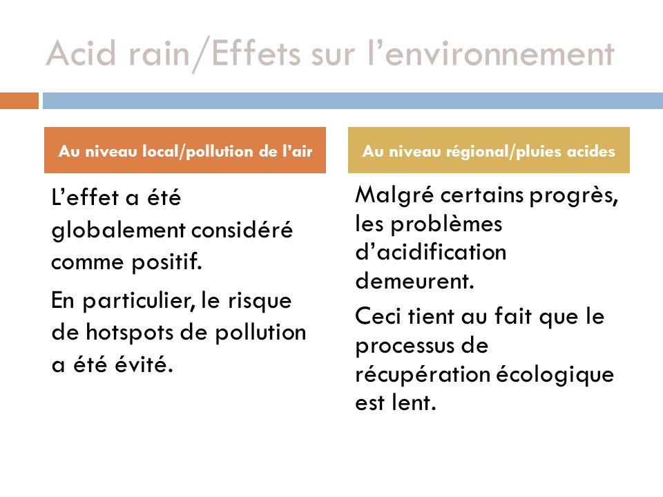 Acid rain/Effets sur lenvironnement Leffet a été globalement considéré comme positif. En particulier, le risque de hotspots de pollution a été évité.