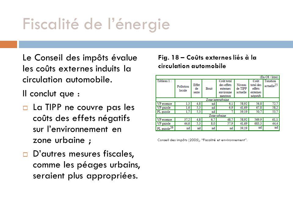 Fiscalité de lénergie Le Conseil des impôts évalue les coûts externes induits la circulation automobile. Il conclut que : La TIPP ne couvre pas les co