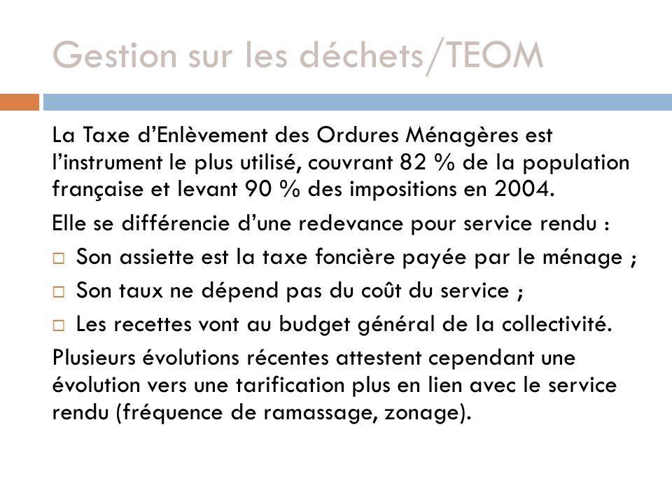 Gestion sur les déchets/TEOM La Taxe dEnlèvement des Ordures Ménagères est linstrument le plus utilisé, couvrant 82 % de la population française et le