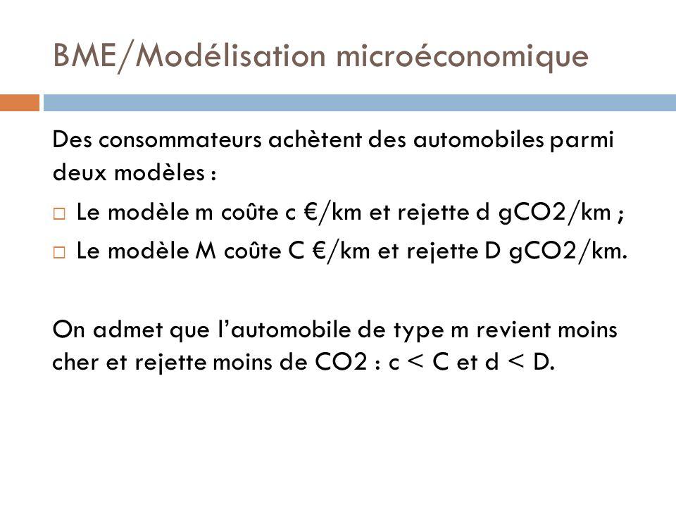 BME/Modélisation microéconomique Des consommateurs achètent des automobiles parmi deux modèles : Le modèle m coûte c /km et rejette d gCO2/km ; Le modèle M coûte C /km et rejette D gCO2/km.