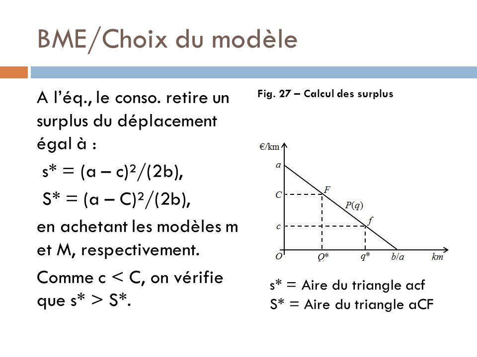 BME/Choix du modèle A léq., le conso. retire un surplus du déplacement égal à : s* = (a – c)²/(2b), S* = (a – C)²/(2b), en achetant les modèles m et M