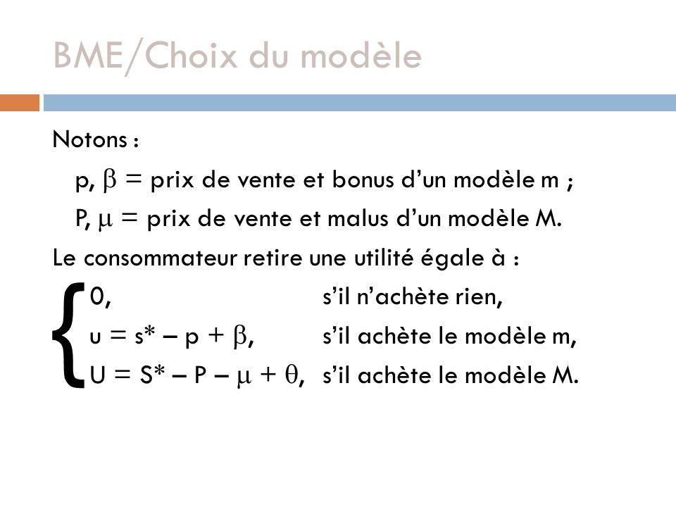 BME/Choix du modèle Notons : p, = prix de vente et bonus dun modèle m ; P, = prix de vente et malus dun modèle M. Le consommateur retire une utilité é