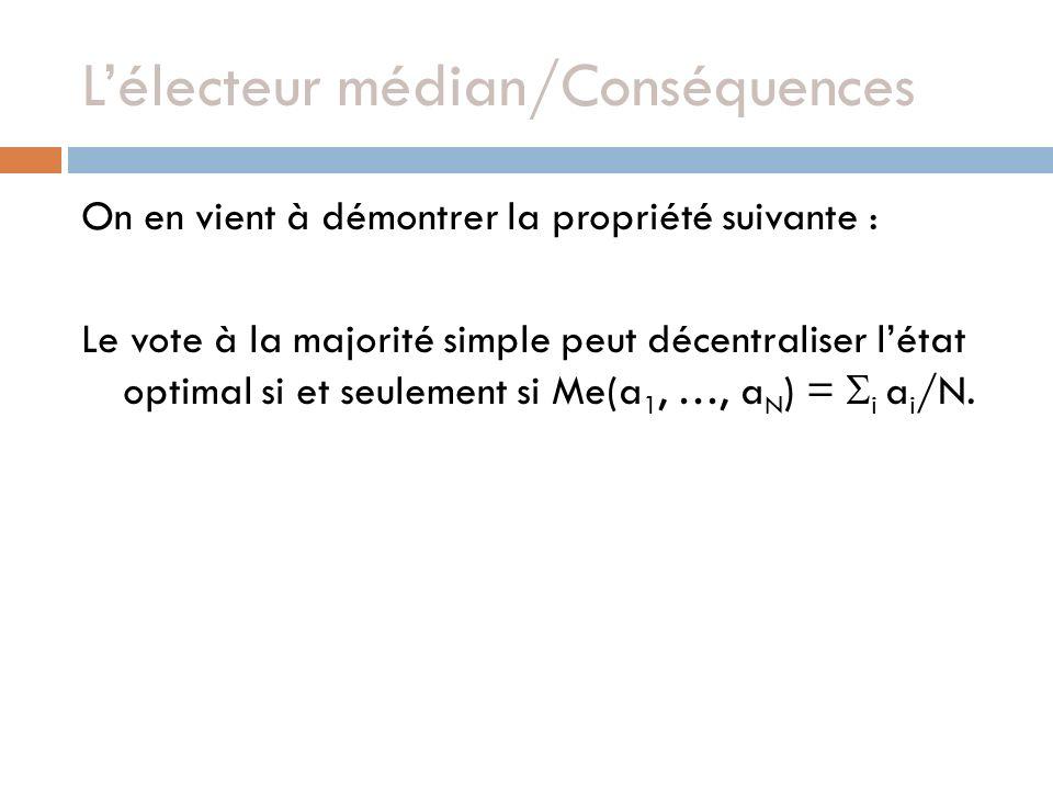 Lélecteur médian/Conséquences On en vient à démontrer la propriété suivante : Le vote à la majorité simple peut décentraliser létat optimal si et seulement si Me(a 1, …, a N ) = i a i /N.