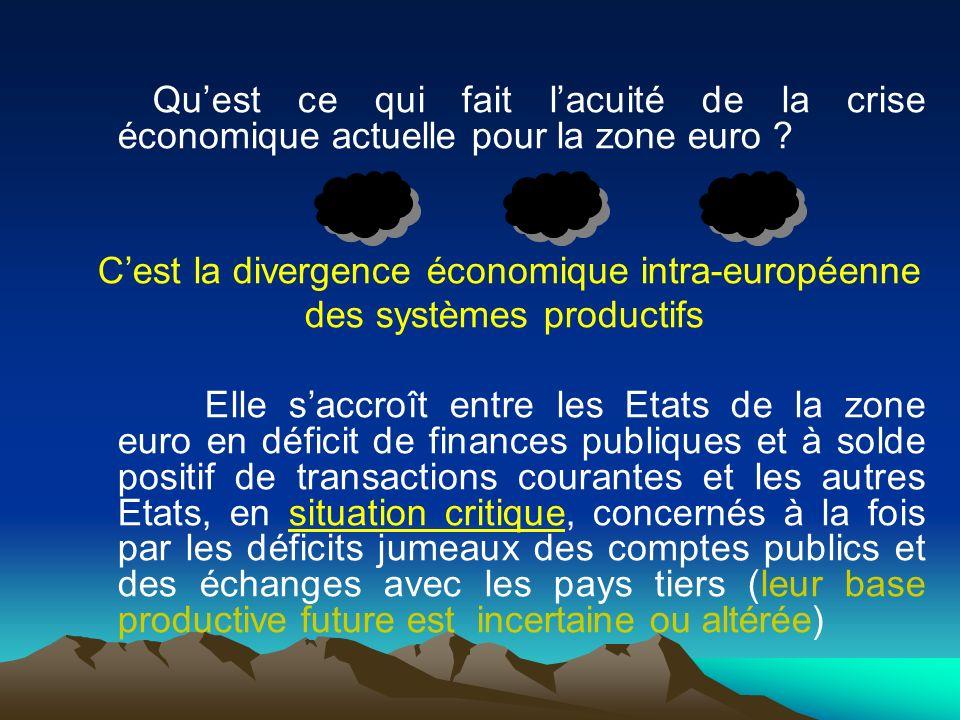 Quest ce qui fait lacuité de la crise économique actuelle pour la zone euro ? Cest la divergence économique intra-européenne des systèmes productifs E