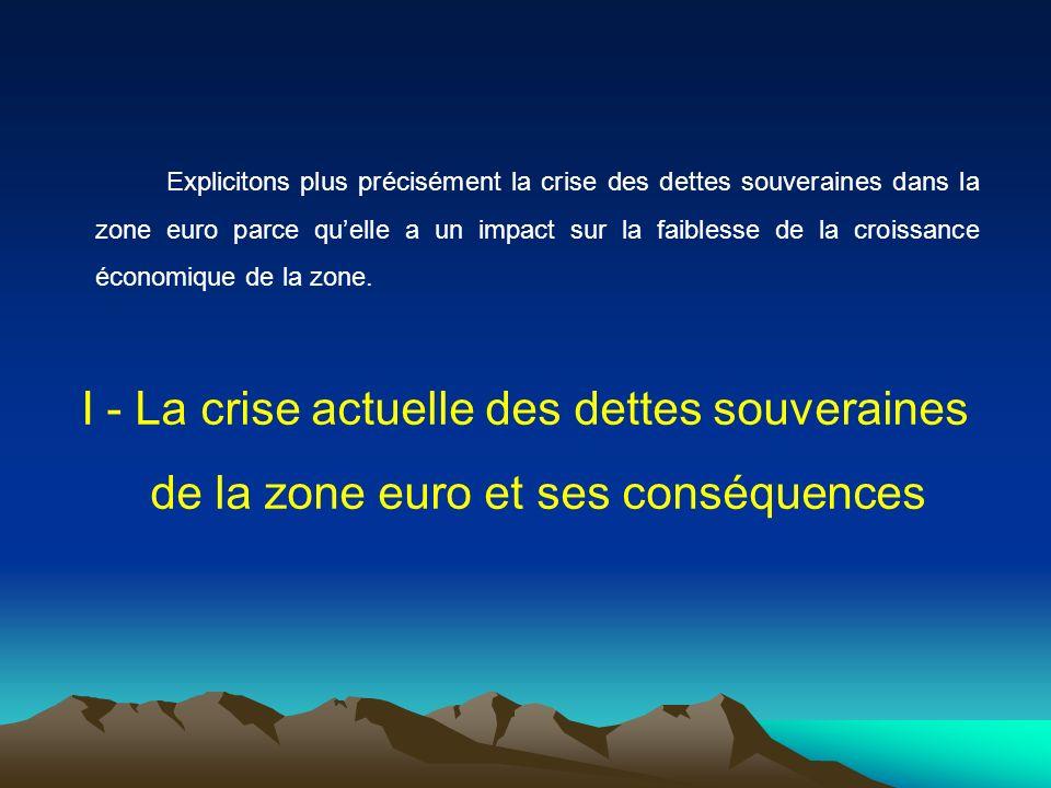 Explicitons plus précisément la crise des dettes souveraines dans la zone euro parce quelle a un impact sur la faiblesse de la croissance économique d