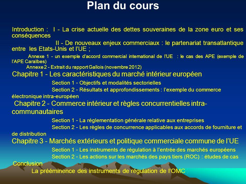Plan du cours Introduction : I - La crise actuelle des dettes souveraines de la zone euro et ses conséquences II - De nouveaux enjeux commerciaux : le