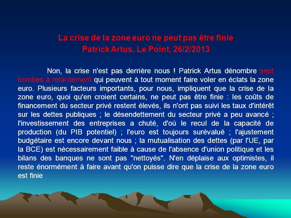 La crise de la zone euro ne peut pas être finie Patrick Artus, Le Point, 26/2/2013 Non, la crise n'est pas derrière nous ! Patrick Artus dénombre sept