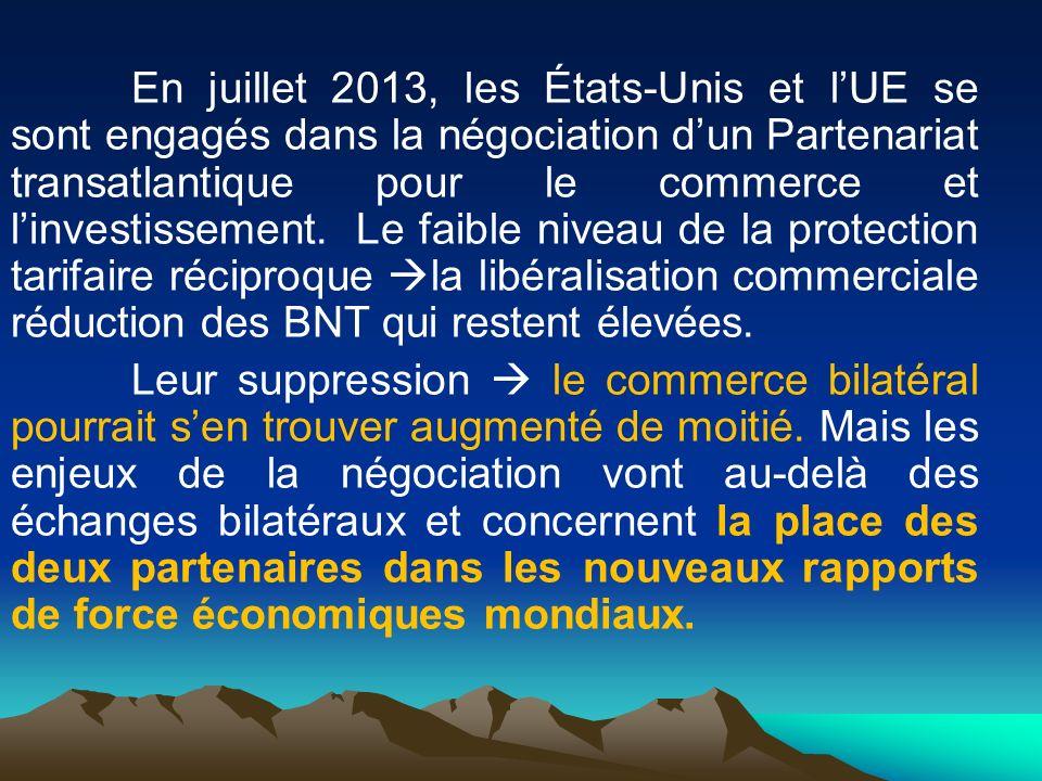 En juillet 2013, les États-Unis et lUE se sont engagés dans la négociation dun Partenariat transatlantique pour le commerce et linvestissement. Le fai