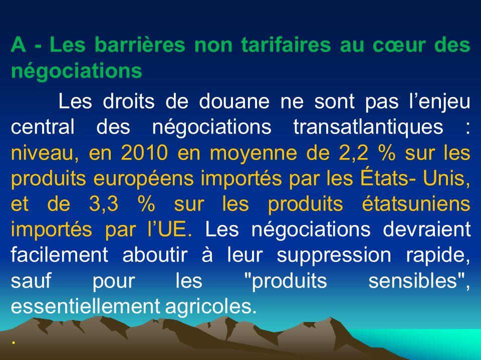 A - Les barrières non tarifaires au cœur des négociations Les droits de douane ne sont pas lenjeu central des négociations transatlantiques : niveau,