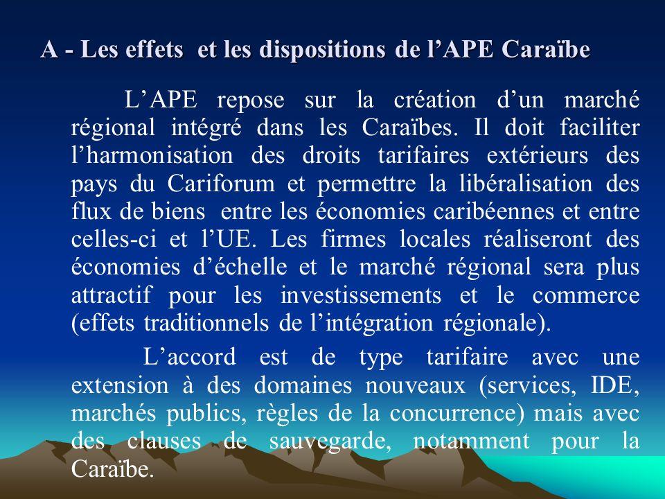 A - Les effets et les dispositions de lAPE Caraïbe LAPE repose sur la création dun marché régional intégré dans les Caraïbes. Il doit faciliter lharmo
