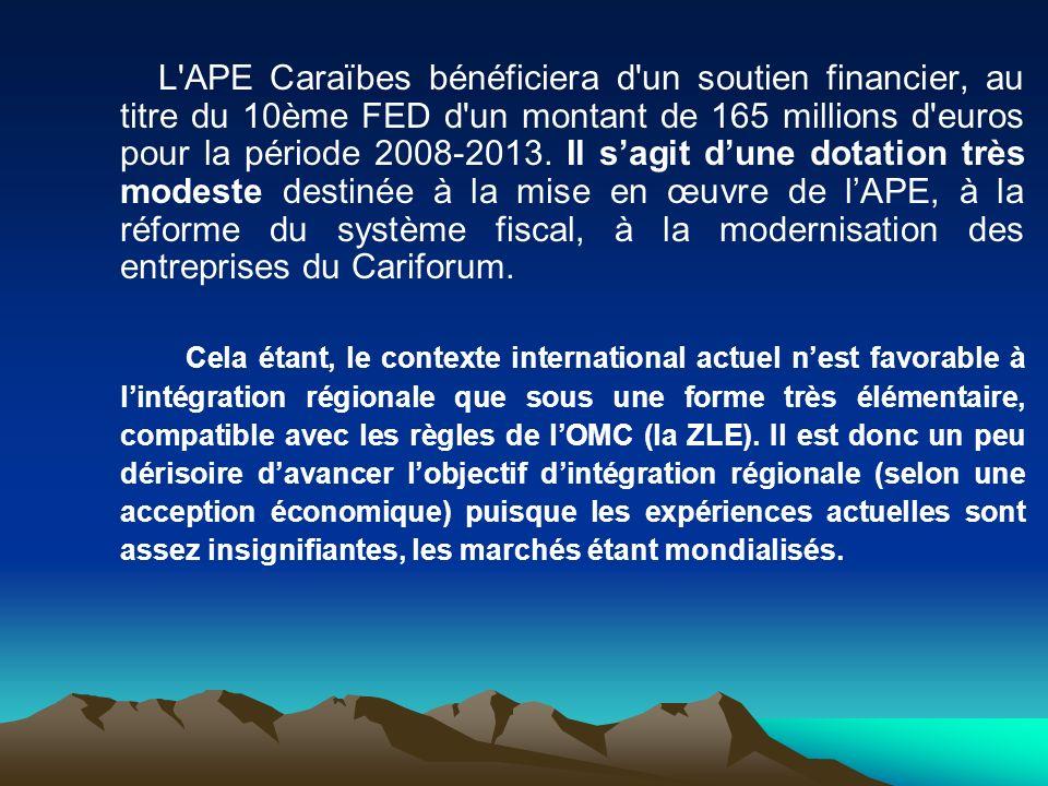 L'APE Caraïbes bénéficiera d'un soutien financier, au titre du 10ème FED d'un montant de 165 millions d'euros pour la période 2008-2013. Il sagit dune
