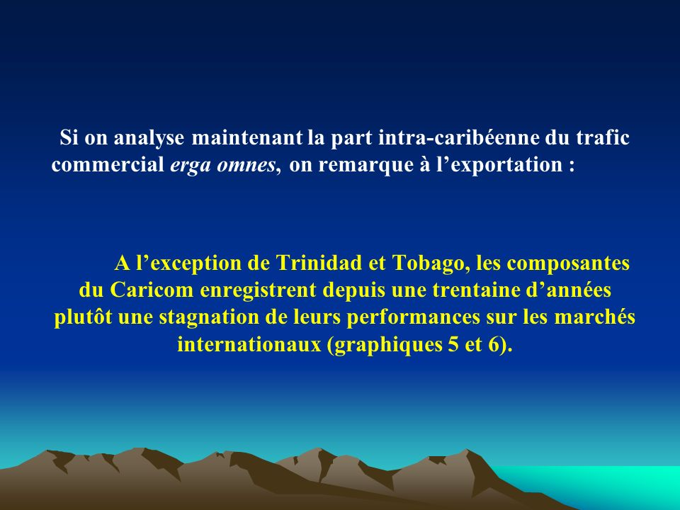 Si on analyse maintenant la part intra-caribéenne du trafic commercial erga omnes, on remarque à lexportation : A lexception de Trinidad et Tobago, le
