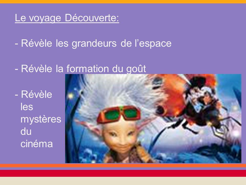 Le voyage Découverte: - Révèle les grandeurs de lespace - Révèle la formation du goût - Révèle les mystères du cinéma