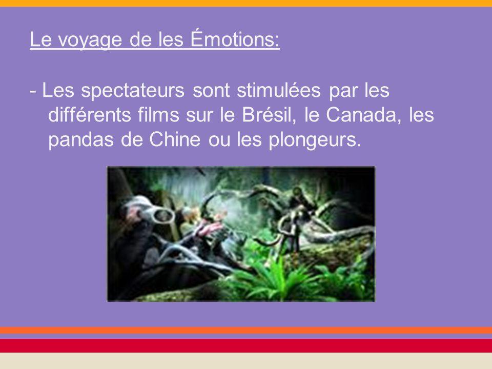 Le voyage de les Émotions: - Les spectateurs sont stimulées par les différents films sur le Brésil, le Canada, les pandas de Chine ou les plongeurs.