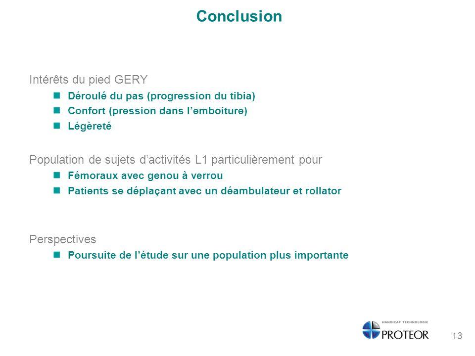 Conclusion Intérêts du pied GERY Déroulé du pas (progression du tibia) Confort (pression dans lemboiture) Légèreté Population de sujets dactivités L1