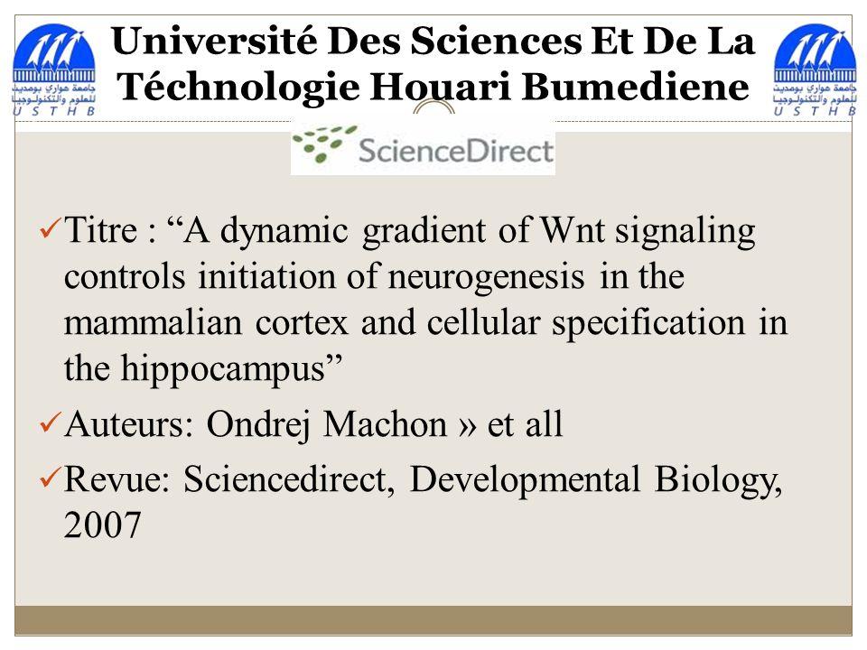 ANALYSE DUN ARTICLE SCIENTIFIQUE La voie de signalisation «B-caténine» de la Wnt dans le cortex des mammifères Travail réalisé par Melles: AIT BELKACEM MAYA-T-Z CHOUKRANE THILELLI CHALAL IKRAM TIAIBA IMENE ALAM KARIMA M1 GD 2013-2014