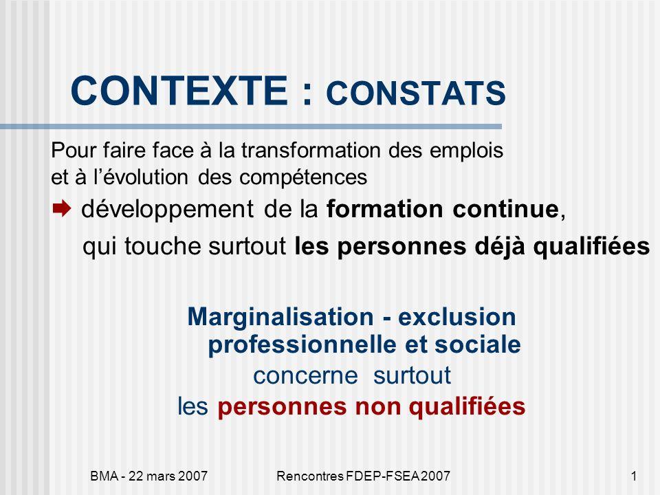 BMA - 22 mars 2007Rencontres FDEP-FSEA 20071 CONTEXTE : CONSTATS Pour faire face à la transformation des emplois et à lévolution des compétences dével