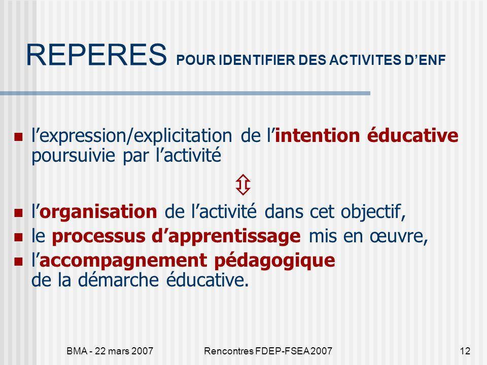 BMA - 22 mars 2007Rencontres FDEP-FSEA 200712 REPERES POUR IDENTIFIER DES ACTIVITES DENF lexpression/explicitation de lintention éducative poursuivie par lactivité lorganisation de lactivité dans cet objectif, le processus dapprentissage mis en œuvre, laccompagnement pédagogique de la démarche éducative.