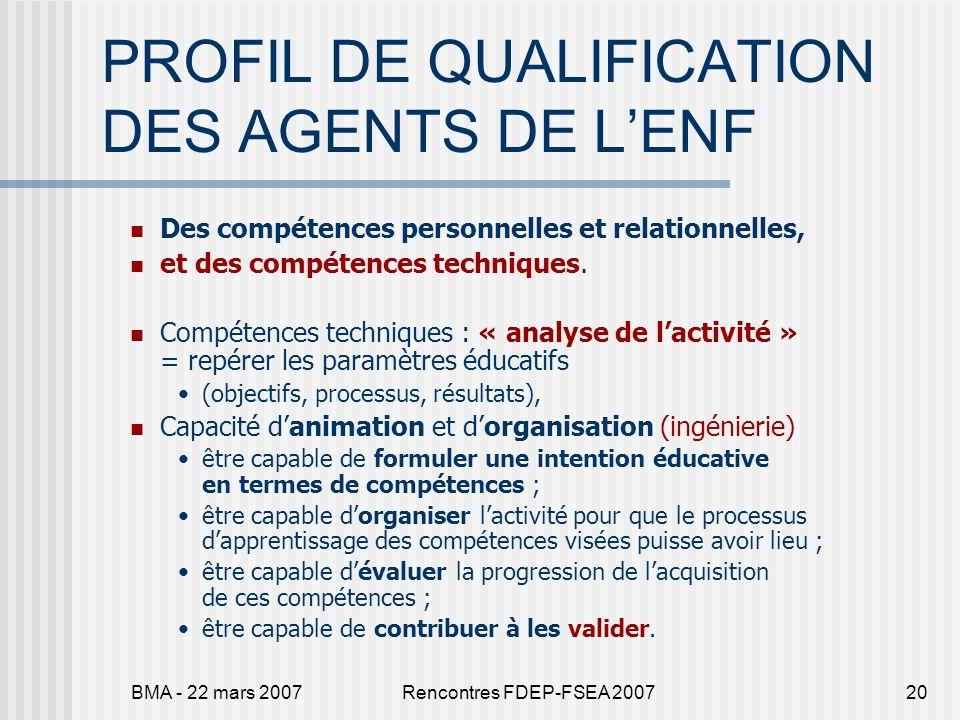 BMA - 22 mars 2007Rencontres FDEP-FSEA 200720 PROFIL DE QUALIFICATION DES AGENTS DE LENF Des compétences personnelles et relationnelles, et des compét
