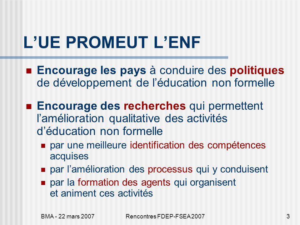 BMA - 22 mars 2007Rencontres FDEP-FSEA 20073 LUE PROMEUT LENF Encourage les pays à conduire des politiques de développement de léducation non formelle