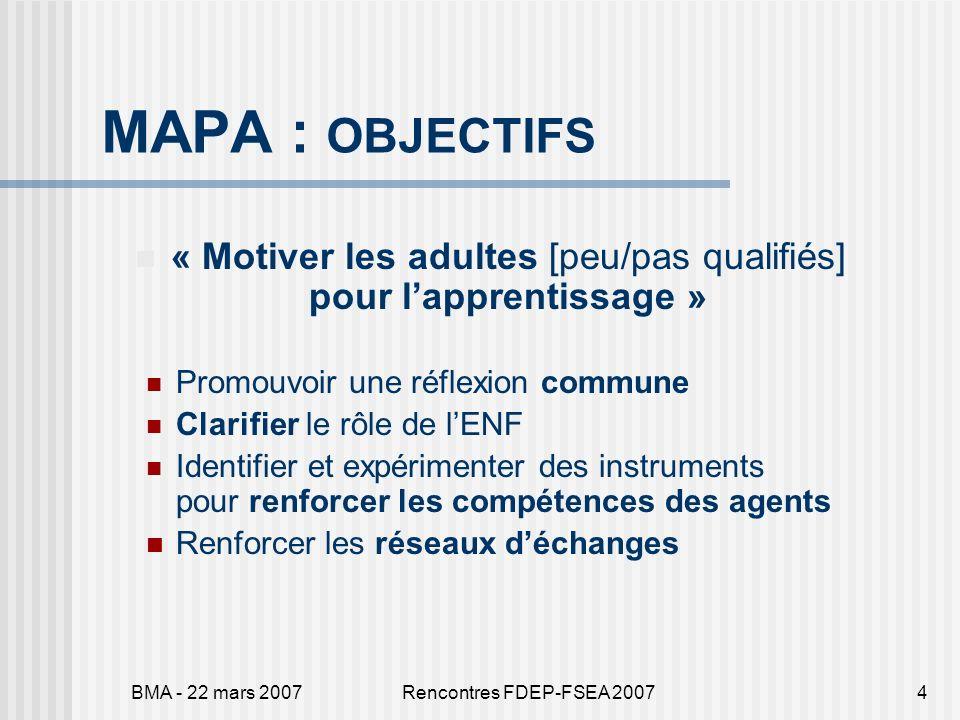 BMA - 22 mars 2007Rencontres FDEP-FSEA 20074 MAPA : OBJECTIFS « Motiver les adultes [peu/pas qualifiés] pour lapprentissage » Promouvoir une réflexion commune Clarifier le rôle de lENF Identifier et expérimenter des instruments pour renforcer les compétences des agents Renforcer les réseaux déchanges