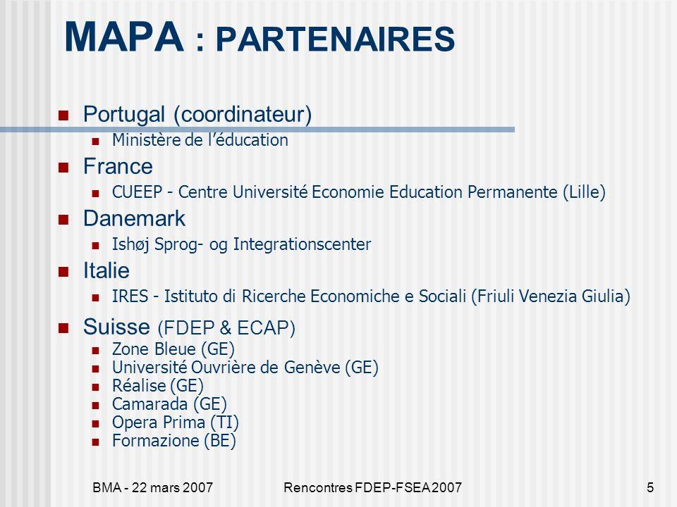 BMA - 22 mars 2007Rencontres FDEP-FSEA 20076 MAPA : ACTIVITES EN CH FDEPCoordination et synthèse du projet transnational (5 séminaires – 3 ans) FDEP & ECAPCoordination et synthèse Formation des agents PartenairesRecherche sur le terrain