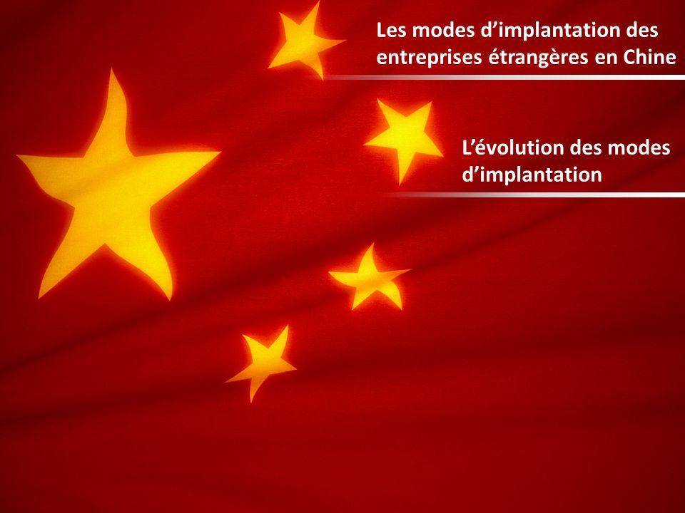 Les modes dimplantation des entreprises étrangères en Chine Lévolution des modes dimplantation