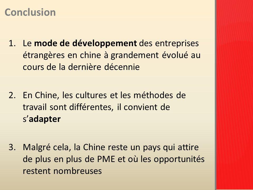Conclusion 1.Le mode de développement des entreprises étrangères en chine à grandement évolué au cours de la dernière décennie 2.En Chine, les cultures et les méthodes de travail sont différentes, il convient de sadapter 3.Malgré cela, la Chine reste un pays qui attire de plus en plus de PME et où les opportunités restent nombreuses