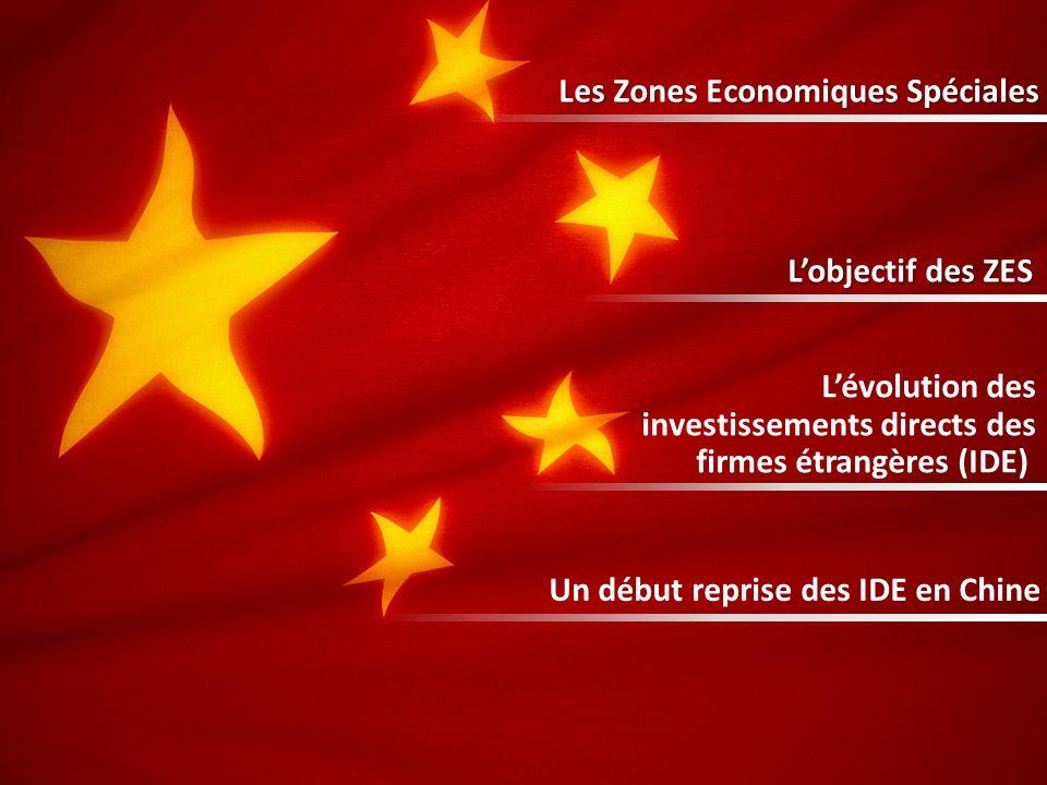 Les Zones Economiques Spéciales Lobjectif des ZES Lévolution des investissements directs des firmes étrangères (IDE) Un début reprise des IDE en Chine