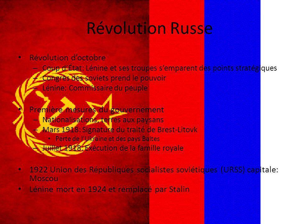 Révolution Russe Révolution doctobre – Coup dÉtat: Lénine et ses troupes semparent des points stratégiques – Congrès des soviets prend le pouvoir – Lé