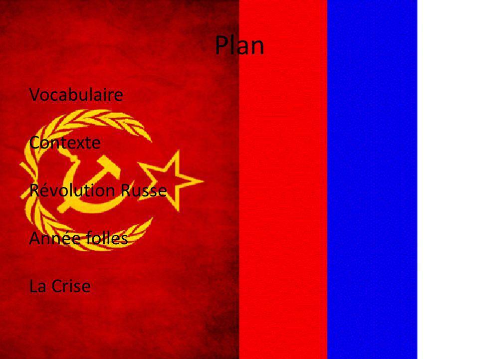 Plan Vocabulaire Contexte Révolution Russe Année folles La Crise