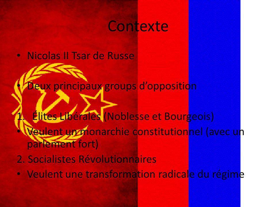 Contexte Nicolas II Tsar de Russe Deux principaux groups dopposition 1.Élites Libérales (Noblesse et Bourgeois) Veulent un monarchie constitutionnel (