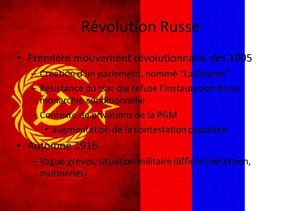 Révolution Russe Première mouvement révolutionnaire des 1905 – Création dun parlement, nommé La Doume – Résistance du tsar qui refuse linstauration du