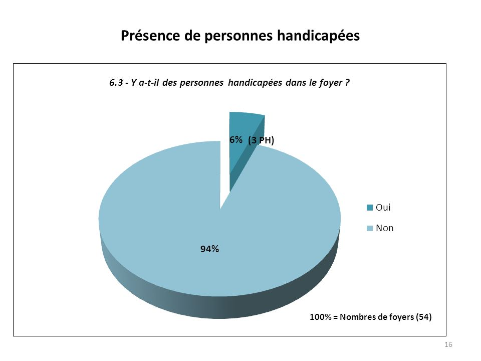 Présence de personnes handicapées 16 (3 PH)