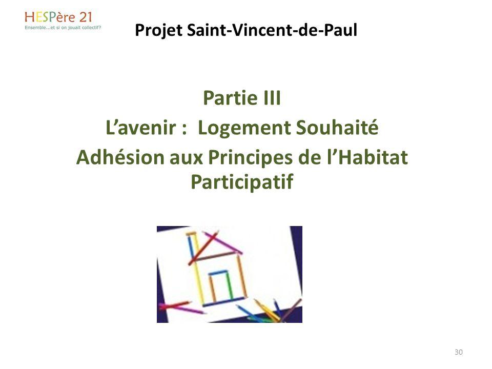 Projet Saint-Vincent-de-Paul Partie III Lavenir : Logement Souhaité Adhésion aux Principes de lHabitat Participatif 30