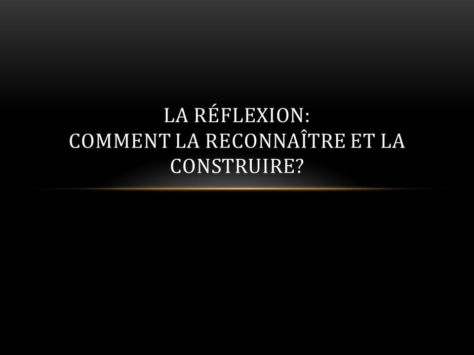 LA RÉFLEXION: COMMENT LA RECONNAÎTRE ET LA CONSTRUIRE?