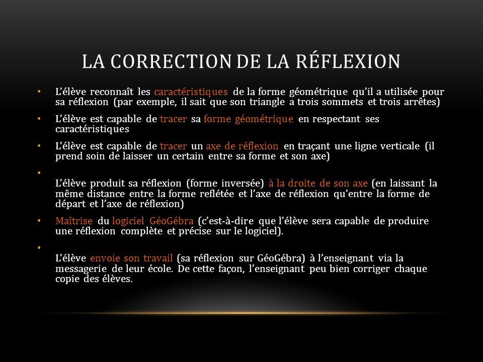 LA CORRECTION DE LA RÉFLEXION Lélève reconnaît les caractéristiques de la forme géométrique quil a utilisée pour sa réflexion (par exemple, il sait qu