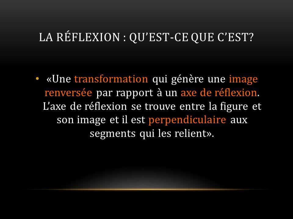 LA RÉFLEXION : QUEST-CE QUE CEST? «Une transformation qui génère une image renversée par rapport à un axe de réflexion. Laxe de réflexion se trouve en