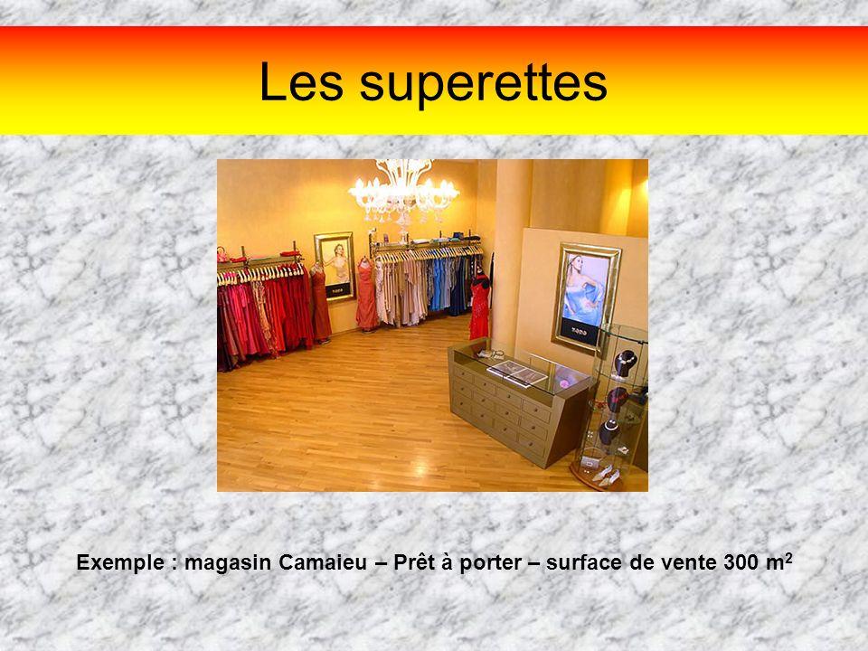 Les superettes Exemple : magasin Camaieu – Prêt à porter – surface de vente 300 m 2