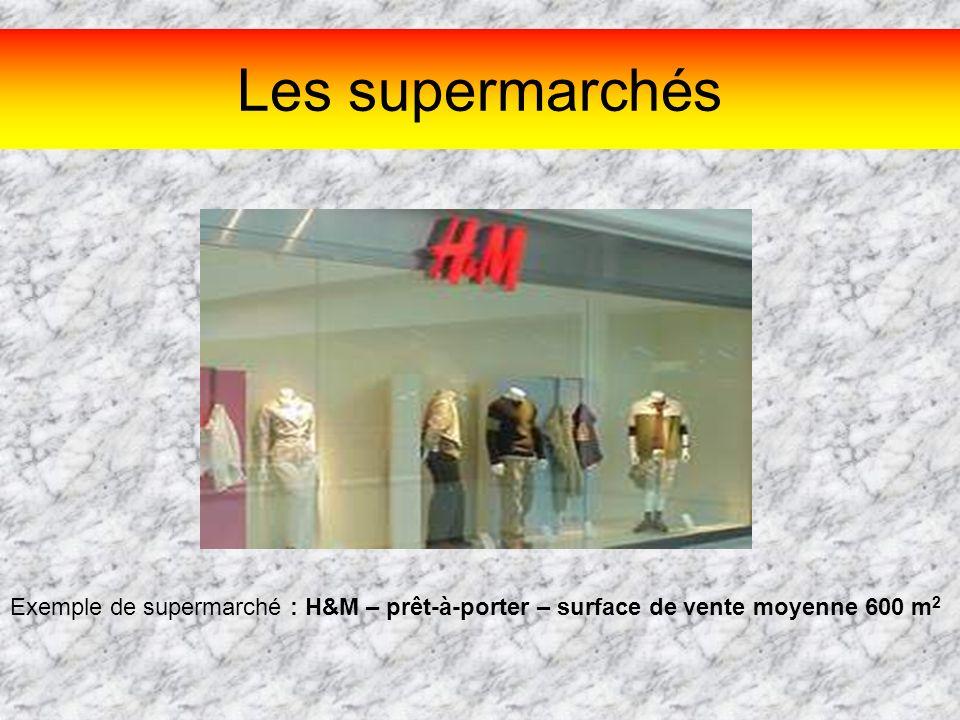 Les supermarchés Exemple de supermarché : H&M – prêt-à-porter – surface de vente moyenne 600 m 2