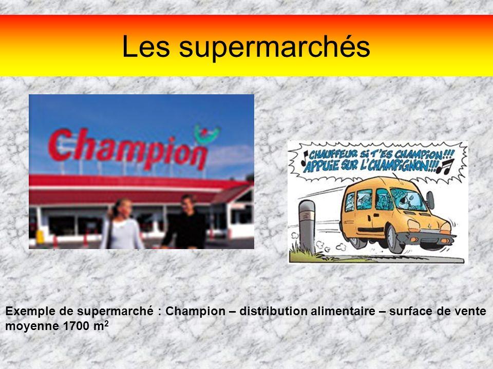 Les supermarchés Exemple de supermarché : Champion – distribution alimentaire – surface de vente moyenne 1700 m 2