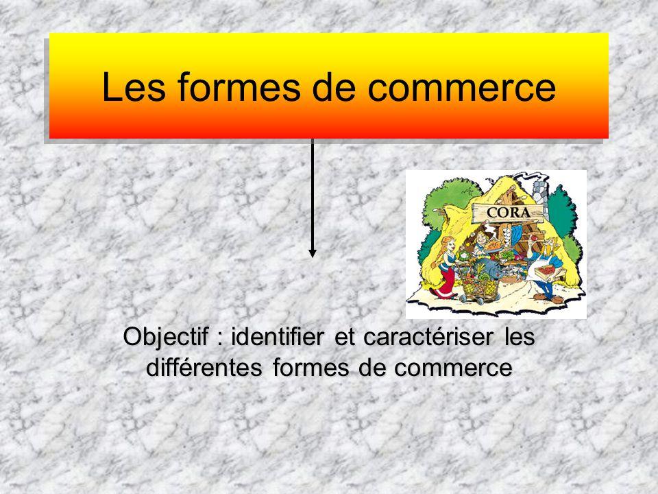 Objectif : identifier et caractériser les différentes formes de commerce Les formes de commerce Les formes de commerce