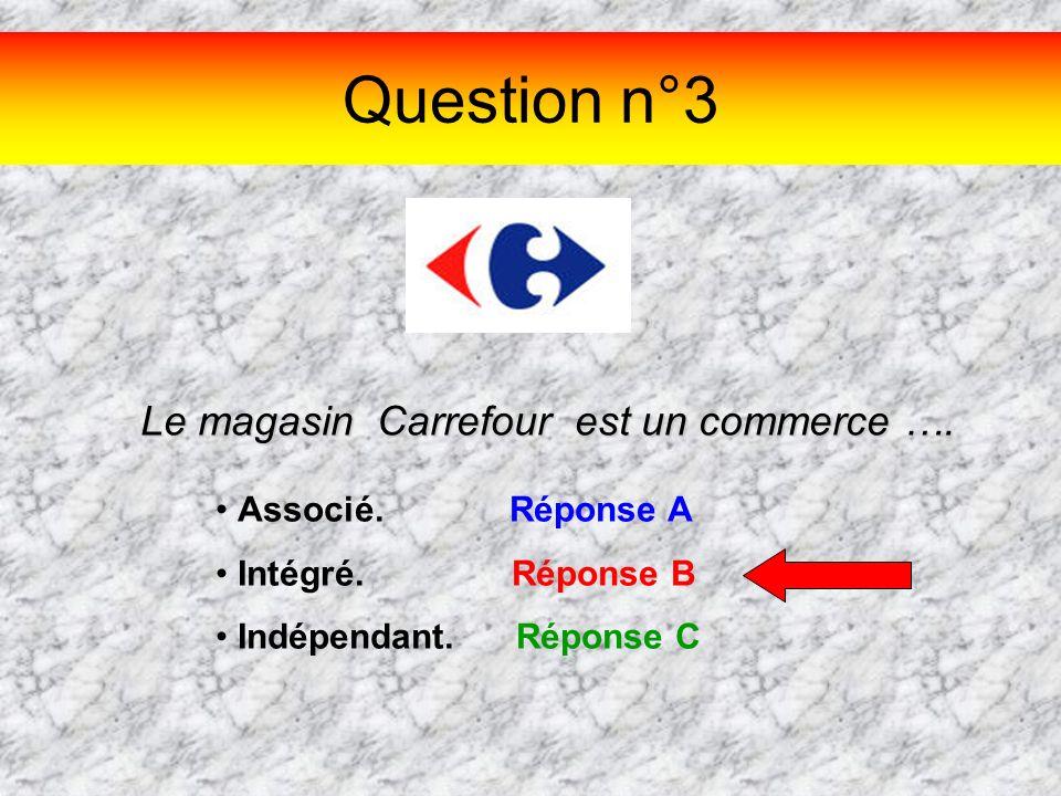 Question n°3 Le magasin Carrefour est un commerce …. Associé. Réponse A Intégré. Réponse B Indépendant. Réponse C