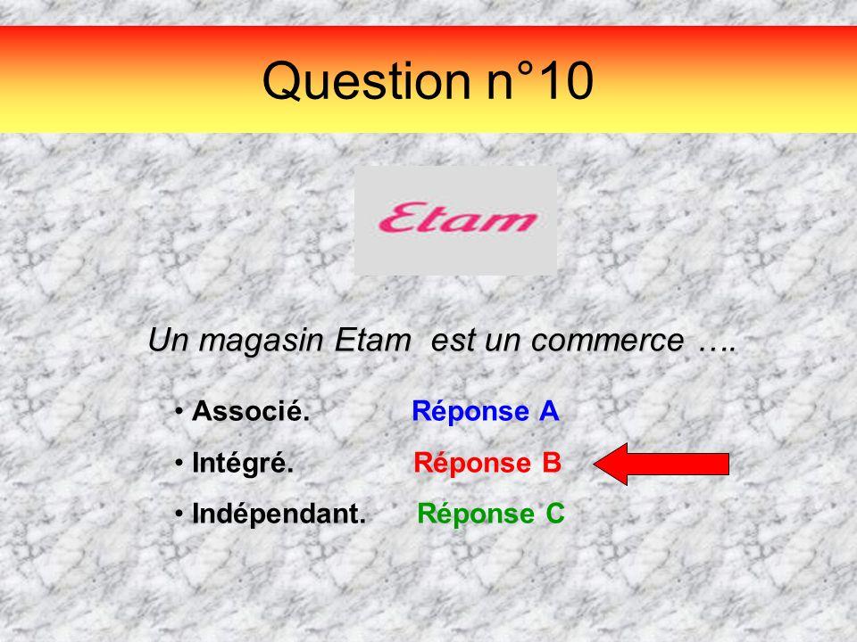 Question n°10 Un magasin Etam est un commerce …. Associé. Réponse A Intégré. Réponse B Indépendant. Réponse C
