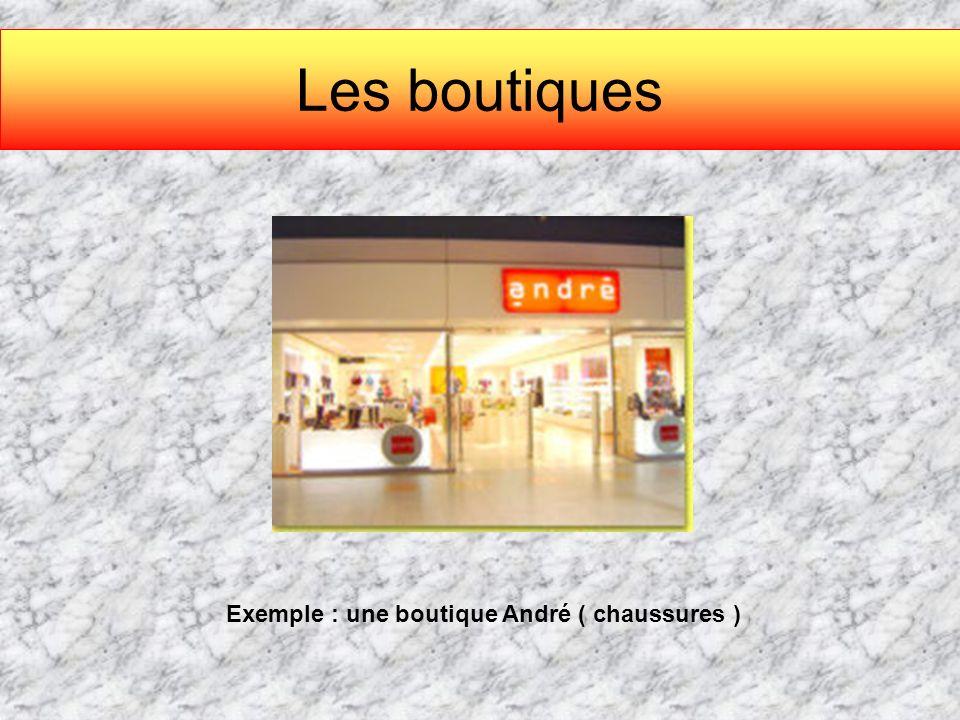 Les boutiques Exemple : une boutique André ( chaussures )