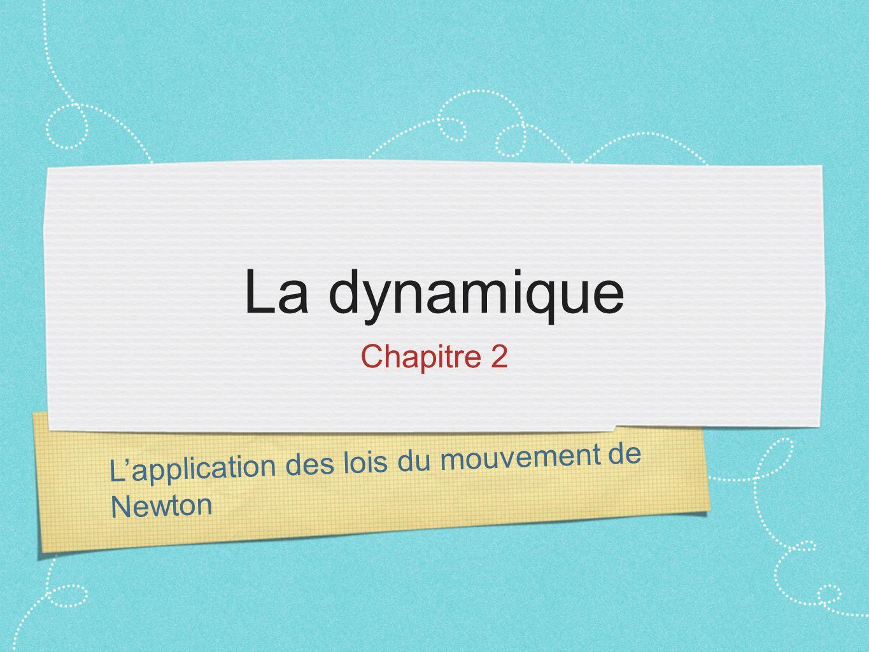 Lapplication des lois du mouvement de Newton La dynamique Chapitre 2